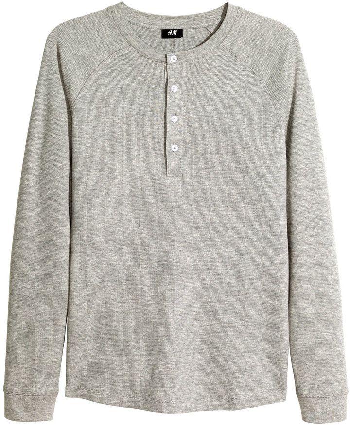 H&M - Henley Shirt - Gray melange - Men