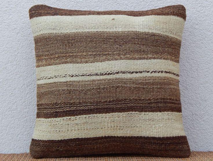 16''x16'' Grainsack Kilim Pillow Cover,Natural Color Cream and Brown Stripes #Handmade