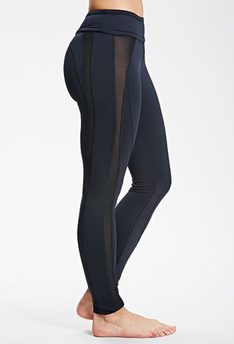 Mesh Paneled Leggings | FOREVER21 - 2000136989 Medium