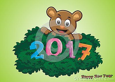 2017 Happy New Year - litle bear found 2017 font on the grass