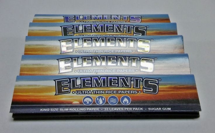 Elements Ultra Thin King Size Slim Rice Rolling Papers - Lot Of 5 Packs