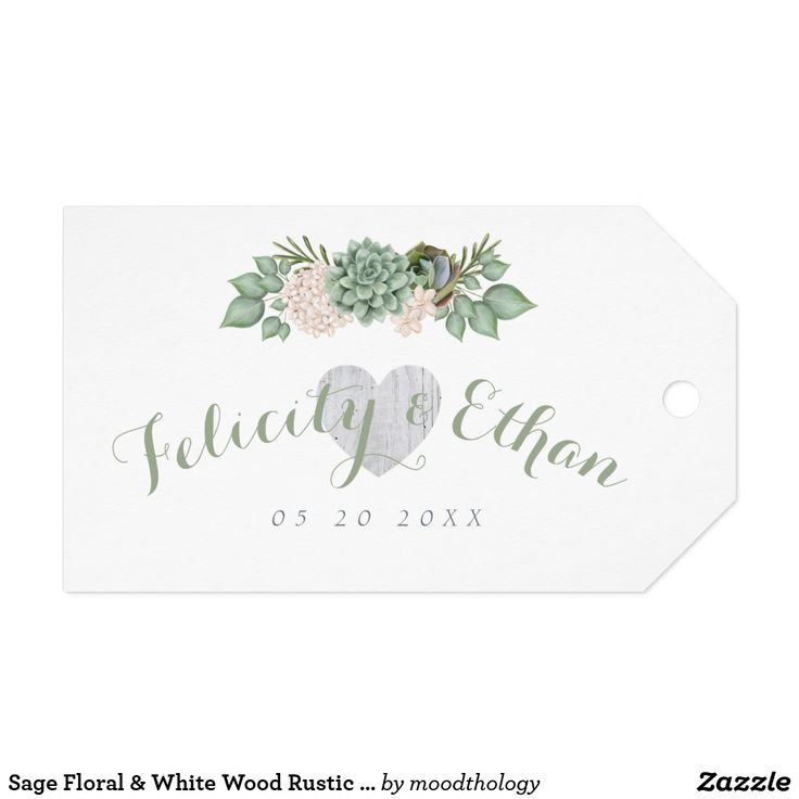 Sage Floral & White Wood Rustic Wedding Gift Tag