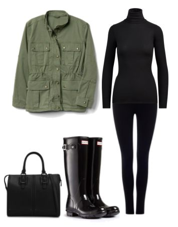 Gap Field Jacket . Black Knit Turtle Neck . Black Leggings . Leather Satchel . Hunter Rain Boots .