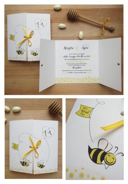 Partecipazioni a tema api e miele con illustrazione personalizzata