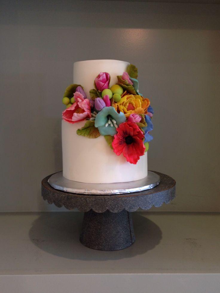 Simple flower wedding cake , spring flower cake, bright flower cake ...