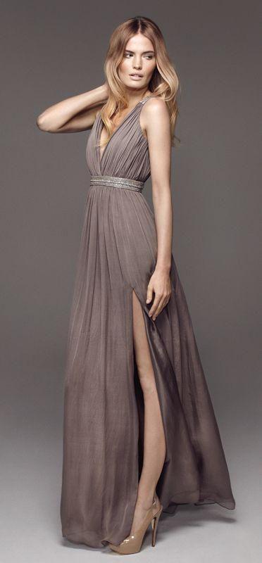 Vestidos color gris para las damas de tu boda