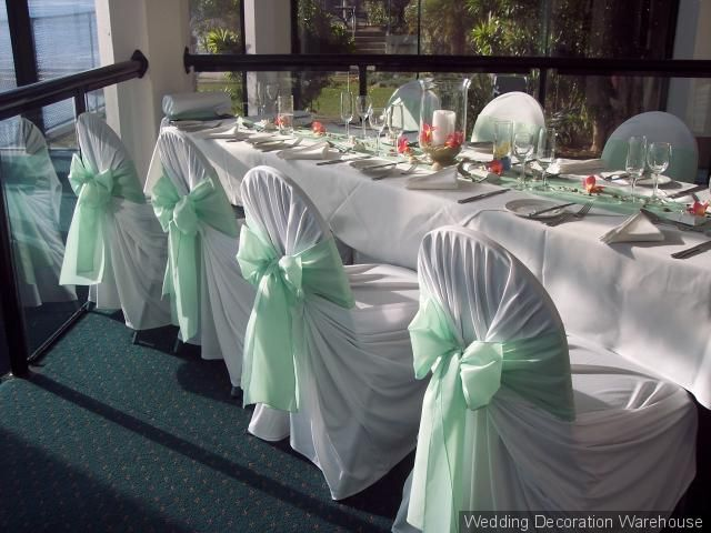 Green Banquet Chair Covers Extended Shower Sheer Mint Ribbons On Goin To The Chapel Wedding Chairs Sashes