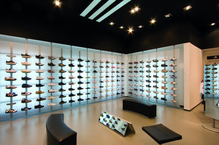 Hunter #spotlight illuminating Adidas store in Zagreb, Croatia.