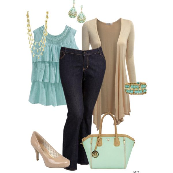 """Plus Size Outfit Teal and Nude"" by penny-martin on Polyvore"