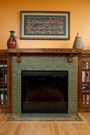 Bungalow Fireplace with Hearth Design by Clay Squared