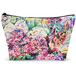 """Watercolor Floral Makeup Bag - Small - 8""""x5"""" (Personalized)"""