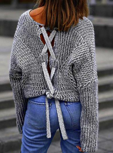 Chunky lace-up sweater in gray