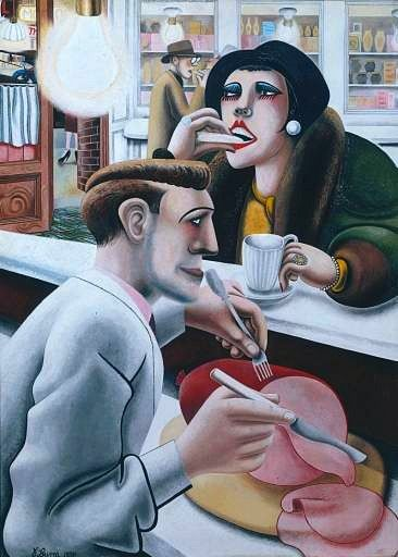 Edward Burra, The Snack Bar 1930  Sensual tension you could cut with a knife....