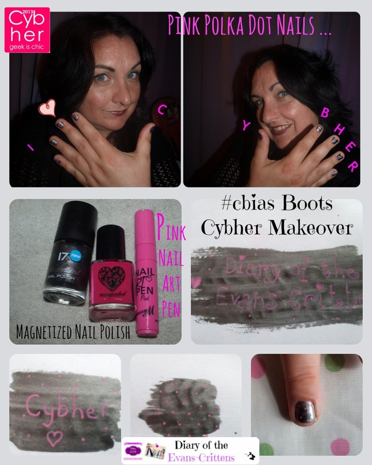 #cbias Cybher Boots Makeover  A new look Silver Magnetized Nail Polish Pink Nail Art Pen Pink Polka Dot Nail Art http://evans-crittens.blogspot.co.uk/2013/05/pink-polka-dot-nail-art-for-cybher-cbias.html