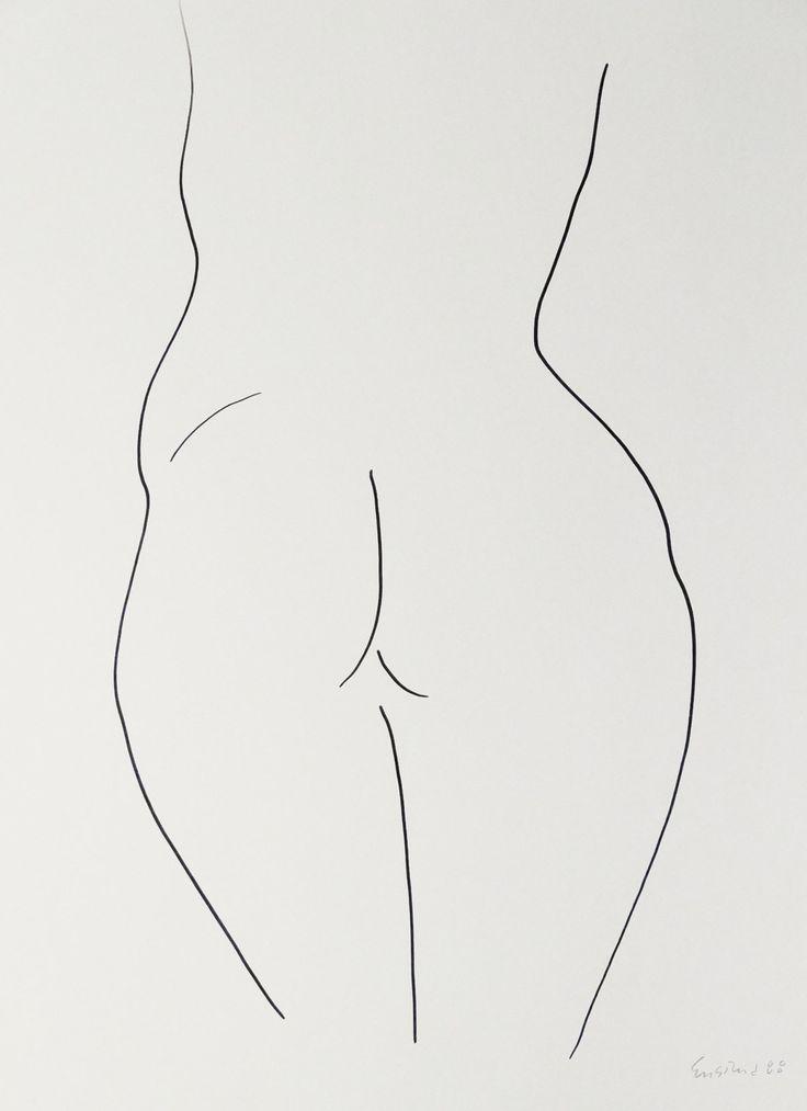 "Nude Figure VI, black ink on white paper, 24"" x 19"", $1,800, http://transformgallery.com/wayne-ensrud/"