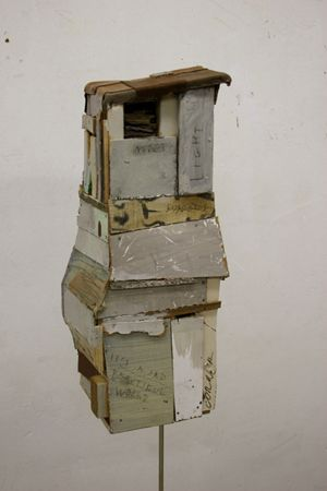 Andrei Roiter, The Tall Waiting Room 2007    Wood, acryl paint, oil paint, canvas, metal music stand