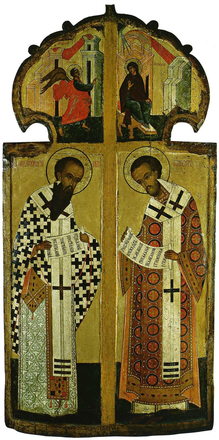 Royal Doors with St. Basil the Great and St. John Chrysostom, Russian, early 16th century, 158 × 80 cm; Museum of History and Architecture, Novgorod