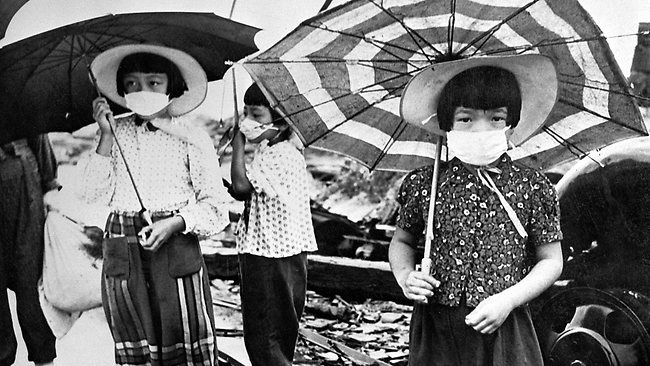 HIROSHIMA GIRLS: The war ended with the US dropping atomic bombs on Japan's mainland. It was later revealed the US had also contemplated a chemical bombardment on Japanese crops. Source: AFP