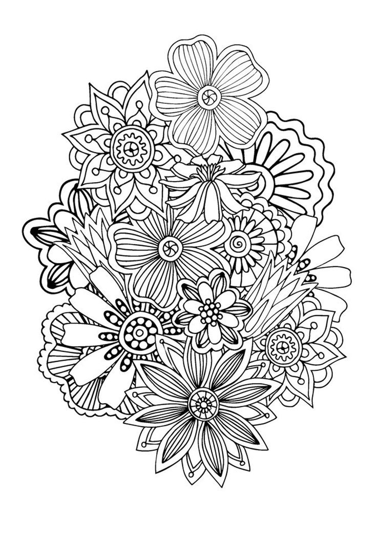 Zen & Anti-stress Coloring page : Abstract pattern inspired by flowers : n°1, by Juliasnegireva (Source : 123rf) #antistress #adultcoloringpages