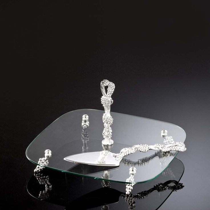 Square Glass Silver Serving Set Of 2