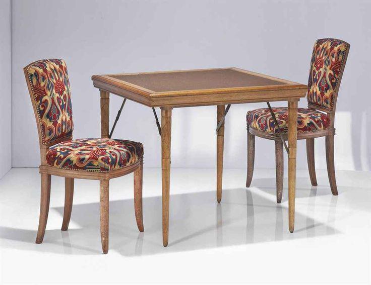 Armand Albert Rateau 1882 1938 Table De Bridge Et Paire De Chaises Vers 1925 Table En Chene Le P Art Deco Furniture Art Deco Interior Contemporary Art Deco