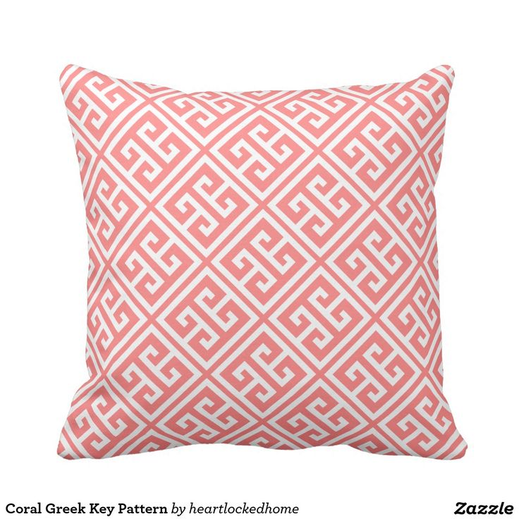 Greek Key Decorative Pillows Part - 39: Shop Blush Pink Greek Key Pattern Throw Pillow Created By Heartlockedhome.