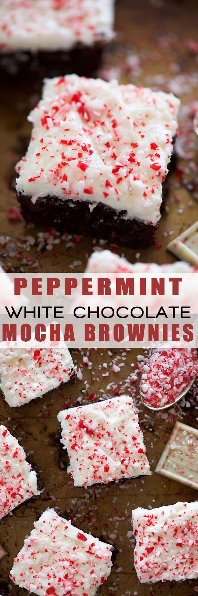 Peppermint White Mocha Brownies Recipe | Fudgy, Easy, Desserts, Gluten Free, Healthy, Coffee