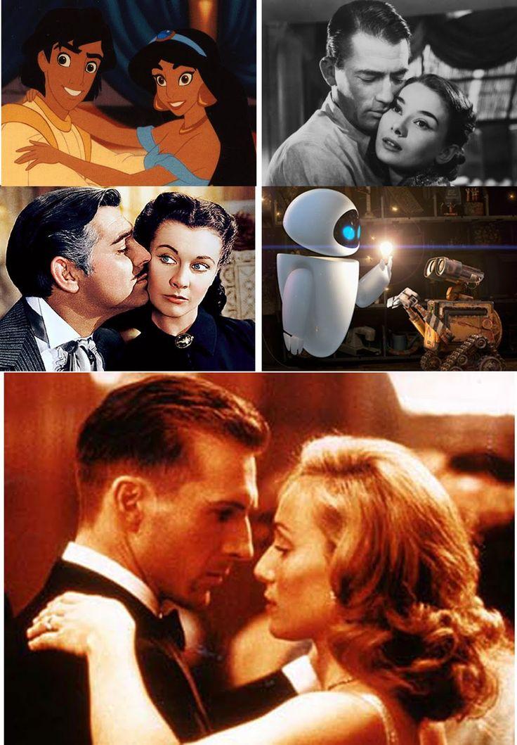"(11- 15)  11.  Ralph Fiennes & Kristin Scott Thomas - ""The English Patient"" 12.  Elissa Knight & Ben Burtt ""WALL-E"" 13.  Clark Gable & Vivien Leigh - ""Gone With the Wind"" 14.  Gregory Peck & Audrey Hepburn- ""Roman Holiday"" 15.Scott Weinger & LInda Larkin ""Aladdin"""