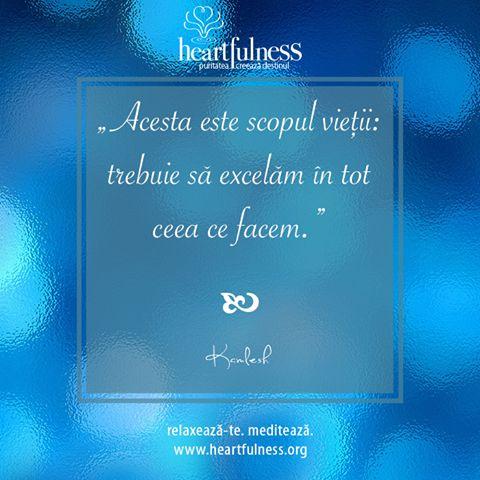 """""""Acesta este scopul vieții: trebuie să excelăm în tot ceea ce facem."""" ~ Daaji #heartfulness   #knowbyheart   #hfnro Heartfulness România - Google+"""