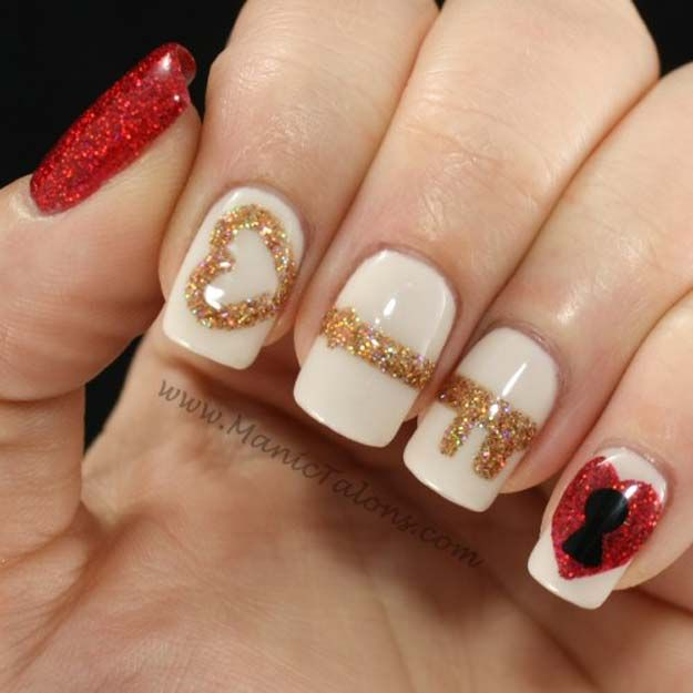 Valentine Nail Art Ideas - Key to My Heart - Cute and Cool Looks For Valentines Day Nails - Hearts, Gradients, Red, Black and Pink Designs - Easy Ideas for DIY Manicures with Step by Step Tutorials - Fun Ideas for Teens, Teenagers and Women http://diyprojectsforteens.com/valentine-nail-art-ideas