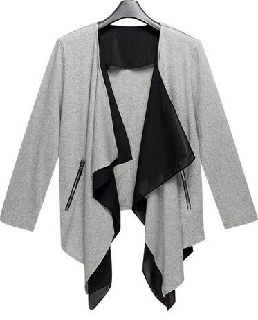Grey Long Sleeve Asymmetrical Knit Cardigan - Sheinside.com