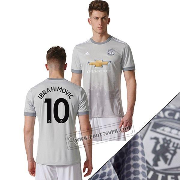 Promotion: Boutique Foot769fr Meilleur Flocage Maillot Manchester United (Ibrahimovic 10) Third Gris 2017 2018 Thailande Nouveau