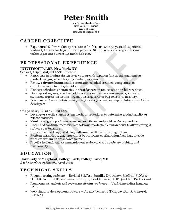 quality assurance resume example - Software Resume Objective