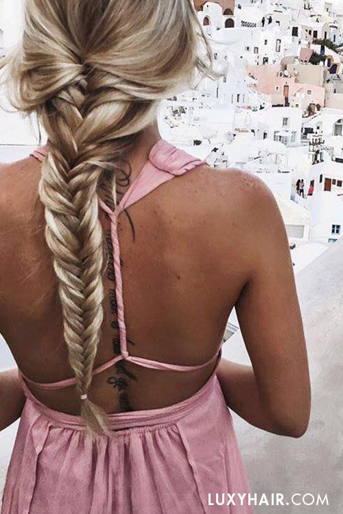 Open back dress and long braids in Santorini <3 The lovely @kelsrfloyd is wearing her Bleach Blonde #luxyhairextensions for highlights.