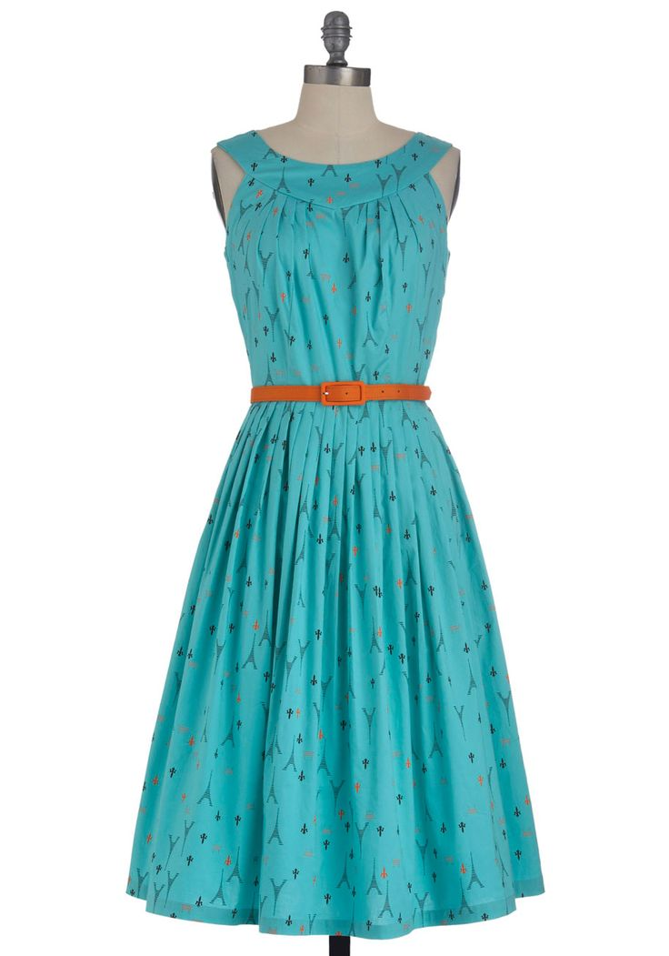 If Eiffel in Love Dress. Your romance with all things Parisian extends from the tour books you keep by your bed to the darling dresses you keep in your closet. #blue #modcloth