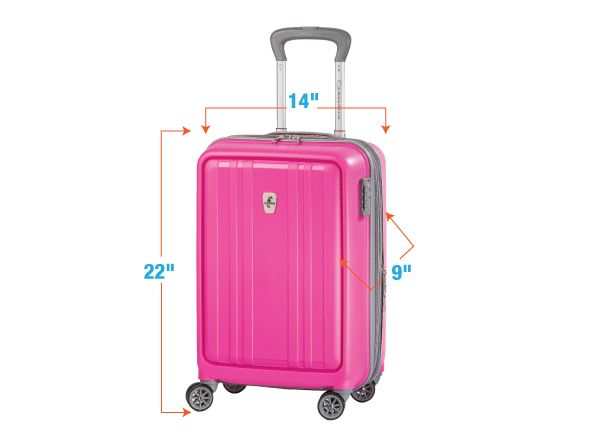 Know your airline's carry-on rules before you fly Remember these numbers: 22, 9, 14. They're not the winning numbers in a Pick 3 lottery or the combination to a safe full of jewels. Rather they're the maximum allowable dimensions in inches (height x depth x width*) for carry-on luggage on most U.S.-based airlines.