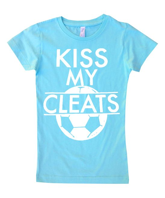Aqua 'Kiss My Cleats' Fitted Tee - Toddler & Girls