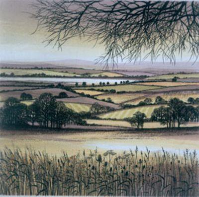 Distant Lake Etching by Kathleen Caddick