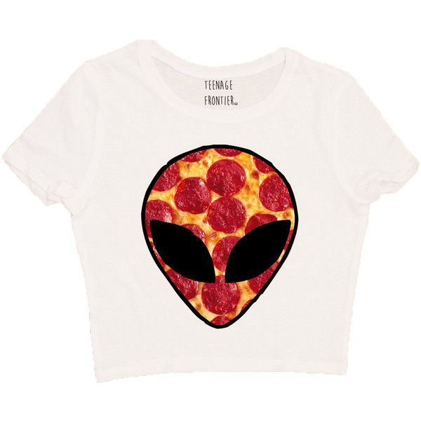 Alien Galaxy Pizza Head Short-Sleeved Crop Top ($16) ❤ liked on Polyvore featuring tops, t-shirts, crop top, grey, women's clothing, checkered crop top, gray tee, short sleeve t shirts and nebula t shirt