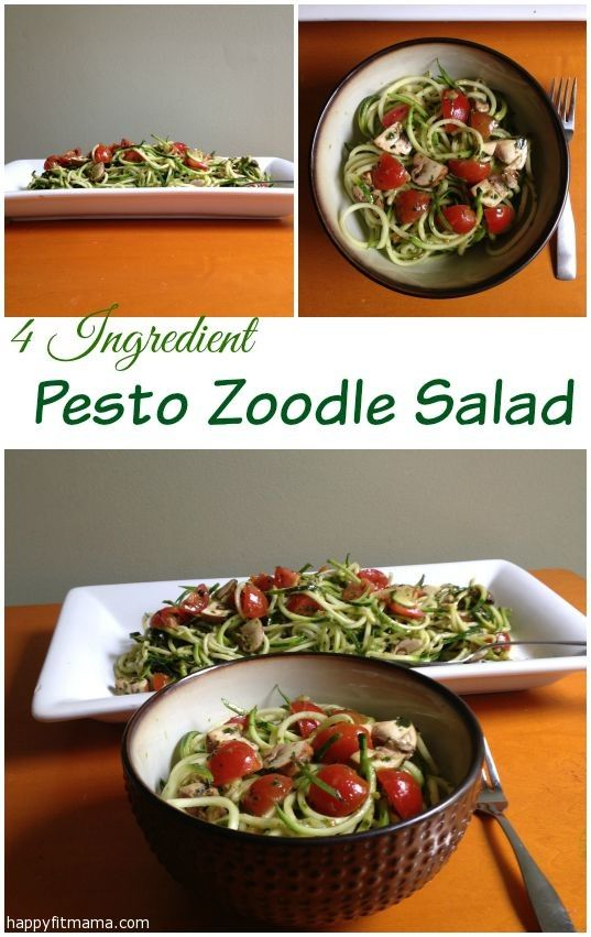 Four ingredient Pesto Zoodle Salad  | recipe | healthy | easy | happyfitmama.com
