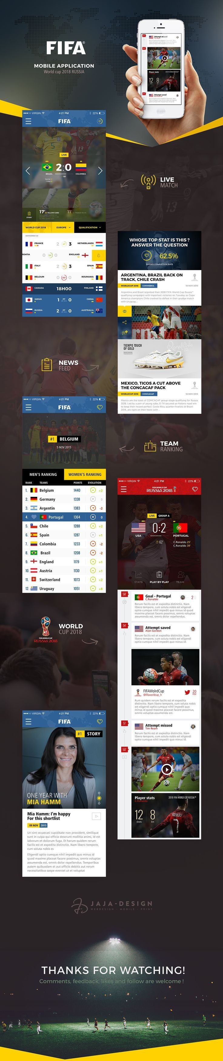 Concept UI design for FIFA Mobile App on Behance