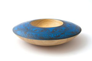 Stunning Blue Textured Wooden Art Bowl by From a Seed. #timber #wooden #unique #handmade #art