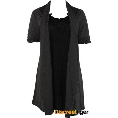 This is a beautiful built-in dress/cardigan knit with the black dress and attached contrasting charcoal cardigan. The open front exposes the stunning floral trim on the neckline of the inner layer, with runched quarter length sleeves on the outer layer. Made from super comfy rayon material it sits just above the knee and will suit a multitude of different occasions.