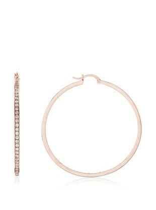CZ by Kenneth Jay Lane Classic Rose Cubic Zirconia Hoop Earrings