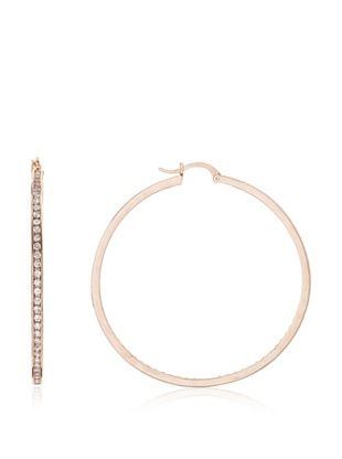 CZ by Kenneth Jay Lane Classic Rose Cubic Zirconia Hoop Earrings