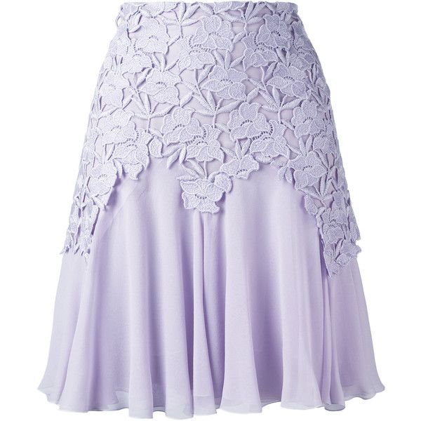 Giambattista Valli - lace trim pleated skirt - women -... ($1,470) ❤ liked on Polyvore featuring skirts, saia, silk pleated skirt, rayon skirt, lace trim skirt, silk skirt and cotton knee length skirt