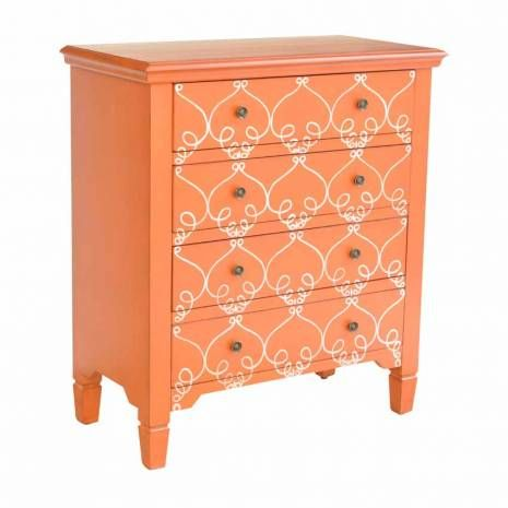 Three Drawer Curved Pattern Bohemian Orange Chest  Orange Storage Cabinet Retro Inspired Crestview Collection