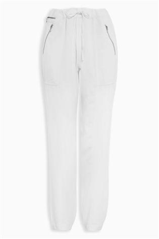 White Tencel® Linen Joggers