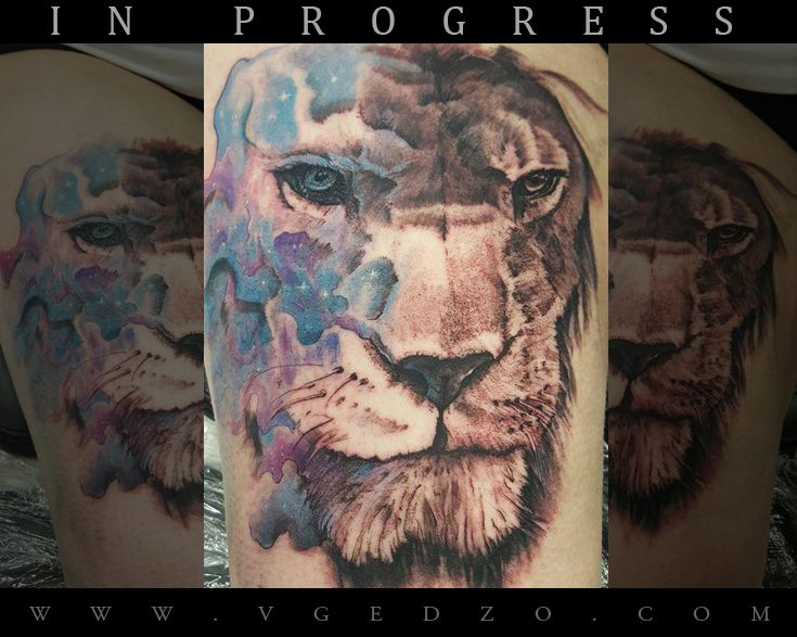 Space Lion Realistic/Abstract tattoo