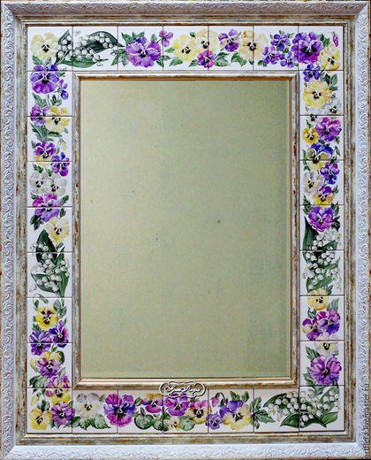 """Купить Зеркало """"Анютки и ландыши"""" - фуксия, зеркало, зеркало настенное, зеркало ручной работы"""